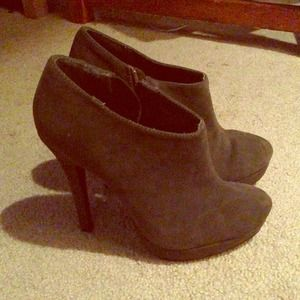 Boots - Grey, suede booties.  Size 6.5