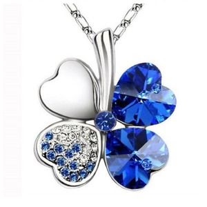 Jewelry - Blue Austrian Crystals Clover Pendant Necklace