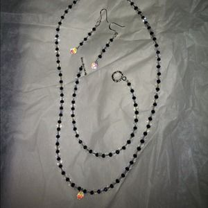 Necklace, bracelet and earring set.