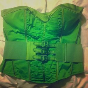 BEBE Large Green Corset Top w/ Matching Belt