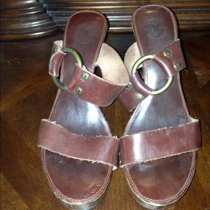 Frye leather and wood sandals size 6