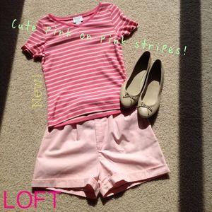 $10 SALE NWOT pretty LOFT pink stripe cotton tee!
