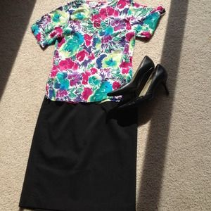 Tops - REDUCED Gorgeous watercolor short sleeved blouse!