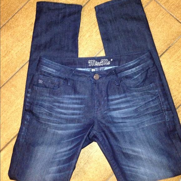 Miss Me Denim - Miss Me jeans straight leg low cut dark wash