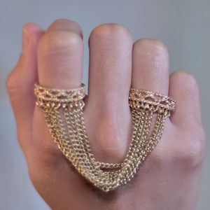 Golden Tassel Double Ring