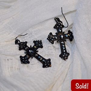 Accessories - 🚫SOLD🚫F21 Rhinestoned Cross Earrings