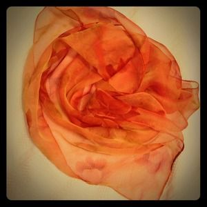 Accessories - Orange, Red and Green Sheer Flowered Scarf