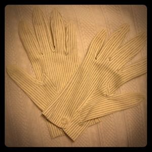 Accessories - Vintage Pinstriped Cream and Navy Gloves
