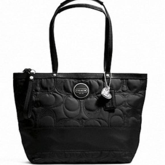 27406e5fcbb Coach Bags   Signature Stitch F17668 Black Nylon Tote   Poshmark