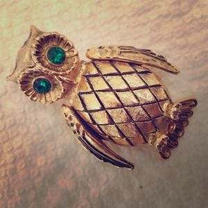 Jewelry - Vintage Gold Rhinestone Owl Brooch w/ Compartment