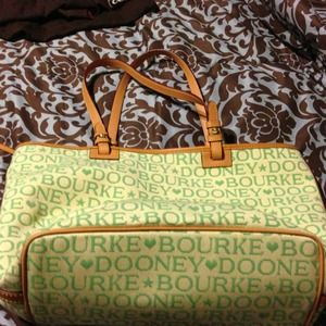 Authentic Dooney and Bourke bag beige and green