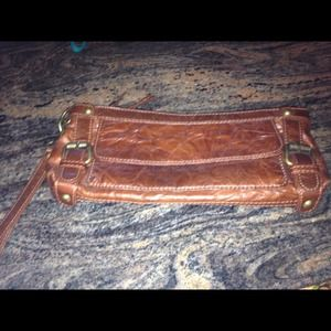 Casual brown clutch with side buckles