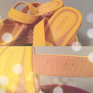 Shoedazzle Shoes - ⛔RESERVED⛔Zola Yellow Strap Wedge