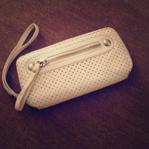 Clutches & Wallets - White leather wristlet