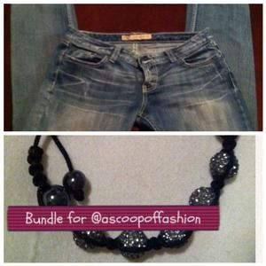 Denim - BKE skinny jeans and shamballa bracelet