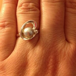 Jewelry - Amazing Blue/Grey Pearl and Sterling Silver Ring