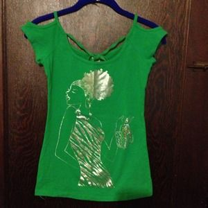 ◆ Green shirt with bling size:S