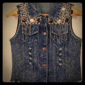 Denim - Vintage jeans embellished women vest size s-m