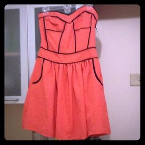 Never worn Coral/Black strapless cocktail dress.