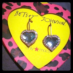 Bright Crystal Blue Heart Betsey Johnson Earrings