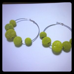 Lime green statement hoop earrings - very trendy!