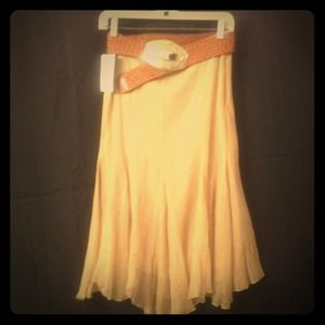 Zara tan silk skirt, new with tags