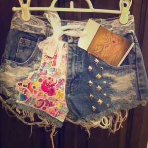 Denim - NEW- my little pony high waist shorts