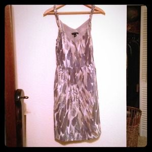 Feather watercolor gray print sheer dress.