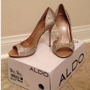 ALDO Shoes - Crystal Covered ALDO Peep Toe - Worn Once