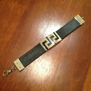 Jewelry - Black Leather and Stainless Steel Bracelet