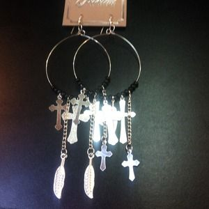 Jewelry - Long silver cross earrings ! 🙏