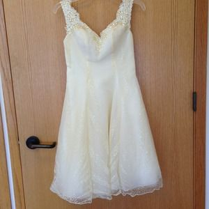 Cream beaded short gown