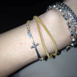 Sideways cross wrap bracelet.