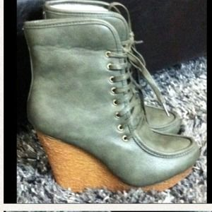 Boots - Reduced--Olive Green Wedge