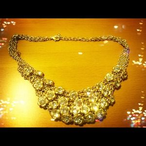 Jewelry - Flower crystal cluster bib necklace