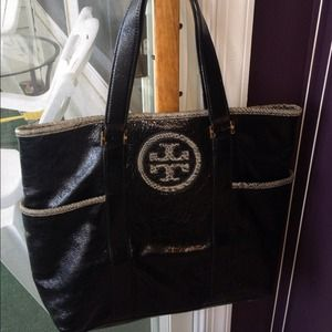 Tory Burch Black Leather Tote Authentic Gorgeous!!