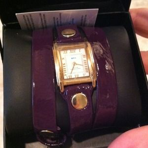 La Mer Collections Purple Patent Wrap Watch