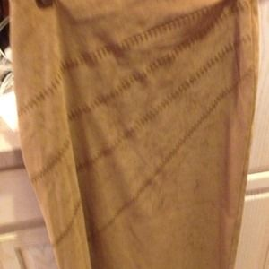 Dresses & Skirts - Camel faux suede long skirt DONATED