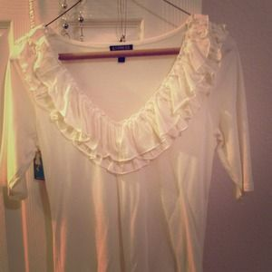 Express cream XS ruffle tee!