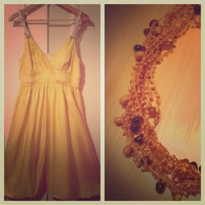 Bundle for @mlpham - yellow silk dress & necklace