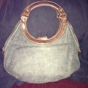 Handbags - Small denim and leather handbag