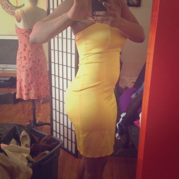 Too Tight For Me Yellow Strapless Tube