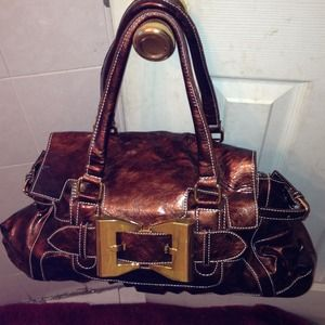 Handbags - Large Bronze leather like handbag
