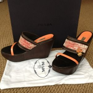 Prada peach china wedge