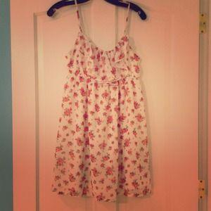 White & Pink floral dress.