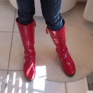 Cole Haan red patent AIR LUCIE boots.