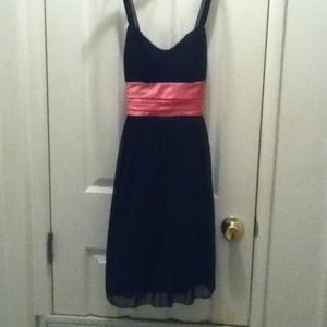 LBD with pink sash bow