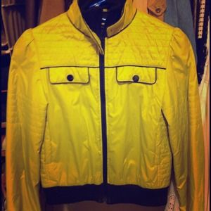 Neon yellow green puffer jacket
