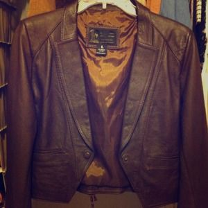 SMALL 100% genuine leather blazer