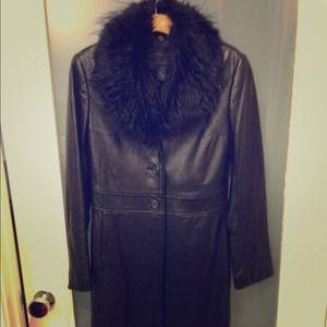 Black leather coat xs